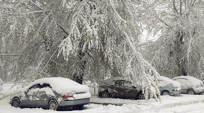 Сильные снегопады с ледяным дождем и гололедом -